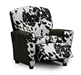 Kid's Recliner Upholstered Armchair with Cup Holder- Santas Favorite Children's Reclining Chair - Two Popular Faux Cowhide Fabric Choices (Charcoal Cowhide)