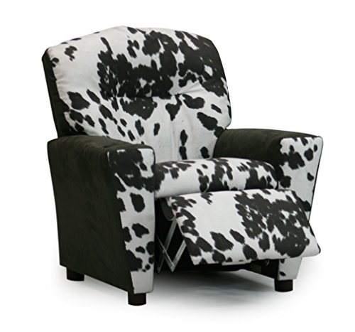 (Toddler Upholstered Recliner, Children's Reclining Armchair Cup Holder, Chair That Reclines for Children, Fun Kids Urban Cowboy Cow Cattle Country Theme Bedroom Furniture, Designer Faux Suede Cowhide)