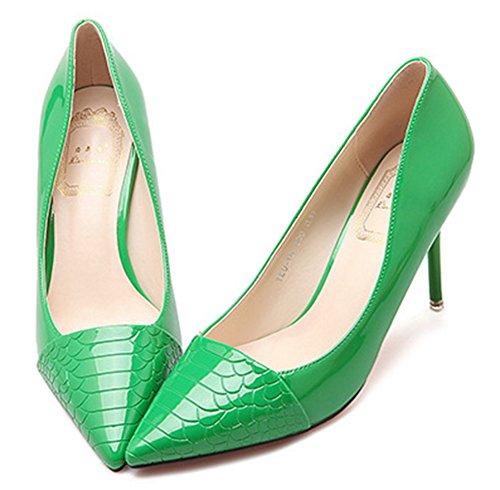 Idifu Kvinna Mode Spetsig Tå Halka På Pumpar Stilett Höga Klackar Grön