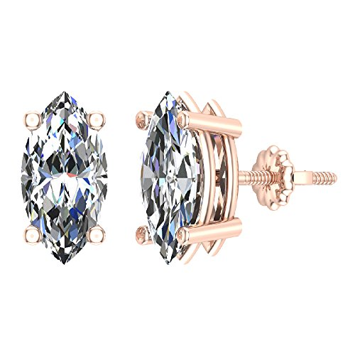 - 4.00 ct tw J I1 Diamond Stud Earrings Marquise Cut Earth-mined 14K Rose Gold Screw Back