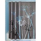 InterDesign Thistle Fabric Shower Curtain, 72 x 72-Inch, Gray/Blue