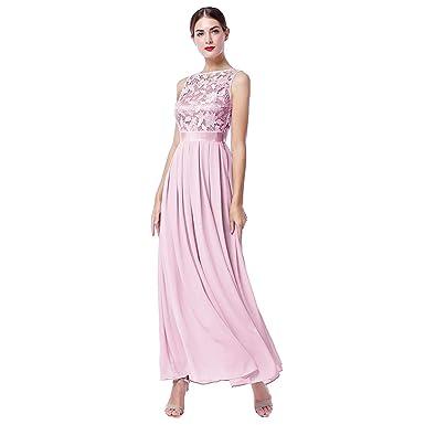 9ffef367e522 OwlFay Elegant Women Vintage Lace Chiffon Wedding Bridesmaid Dress Pleated  Long Maxi Dress Sleeveless Low Back