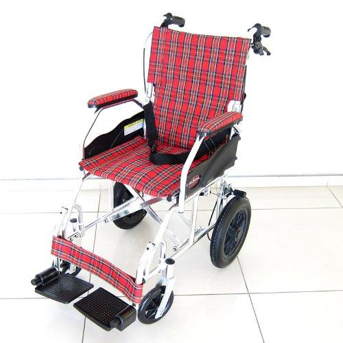 カドクラ クラウド 介助用車椅子 折りたたみ式 ミラノレッドチェック A604-ACR B00ESUF07Q