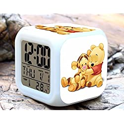 Cartoon Winnie the Pooh Digital LED 7 Changed Colorful Light Alarm Clocks Thermometer Night Electronic Kids Toys Best Gift for Children (Style 12)