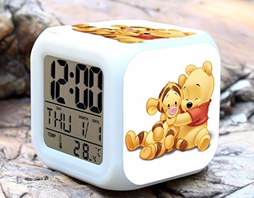 (Cartoon Winnie The Pooh Digital LED 7 Changed Colorful Light Alarm Clocks Thermometer Night Electronic Kids Toys Best Gift for Children (Style 12))
