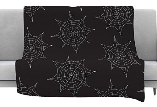 Kess InHouse Kess Original Spiderwebs-Black Throw 80 x 60 Fleece Blanket