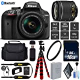 Nikon D3400 DSLR 24.2MP DX CMOS Camera AF-P 18-55mm VR Lens + UV Protection Lens Filter + 12 inch Flexible Tripod + Camera Case - International Version