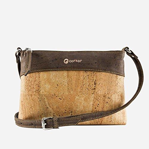 Vegan Women Adjustable Cork Handbag Brown Purse Strap Bag Crossbody Corkor Leather Natural Light Dark wX60Edqnx