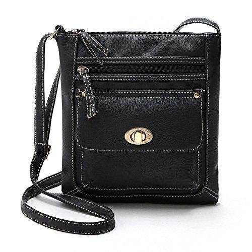 Goddessvan Crossbody Womens Leather Satchel Cross Body Shoulder Messenger Bag Black