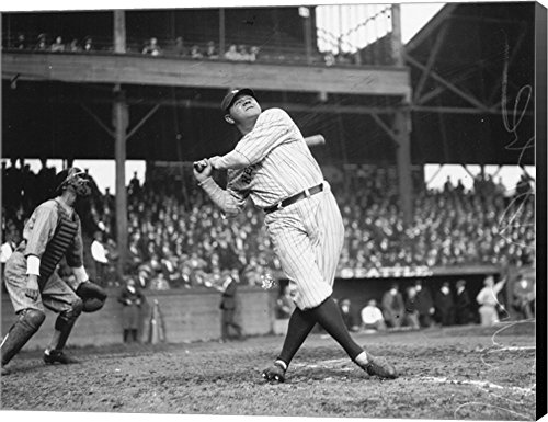 Baseball Large Framed Print (Babe Ruth Seattle Dugdale Park, 1924 by Lantern Press Canvas Art Wall Picture, Museum Wrapped with Black Sides, 28 x 22 inches)