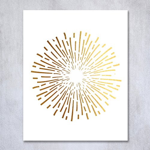 Burst Gold Foil Decor Print Abstract Circle Fireworks Concentric Lines Sun Starburst Poster Contemporary Geometric Wall Art 5 inches x 7 inches
