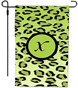 Rikki Knight Letter X Initial Lime Green Leopard Print Monogram Decorative House or Garden Flag, 12 by 18-Inch