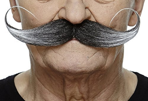 Mustaches Self Adhesive Fake Mustache, Novelty, Capt' Hook False Facial Hair, Costume Accessory for Adults, Salt and Pepper Color ()