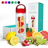 Savvy Infusion Water Bottle - 24 or 32 Ounce - Featuring Unique Leak-Proof Siliconed Sealed Cap w/Handle - Includes Bonus Recipe Ebook