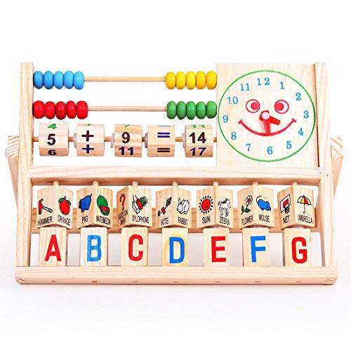 Philohewen Wooden Activity Cube Shorter Bead Maze Toy Educational Baby Gifts for Boys and Girls Versatile Flap Abacus Wooden Toys