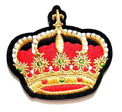 Nipitshop Patches Fashion Beautiful red Crown Queen Crown Cartoon Kids Patch Embroidered Iron On Patch for Clothes Backpacks T-Shirt Jeans Skirt Vests Scarf Hat Bag