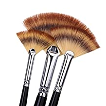 6Pcs Sable Weasel Fan Multi-Color Hair Birch Wooden Handle Brush Set for Watercolor,Acrylic and Liner Painting, 6 Sizes