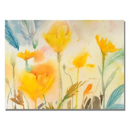 Yellow Poppies by Sheila Golden, 24x32 inches Canvas Wall Art (Flower Yellow Golden)