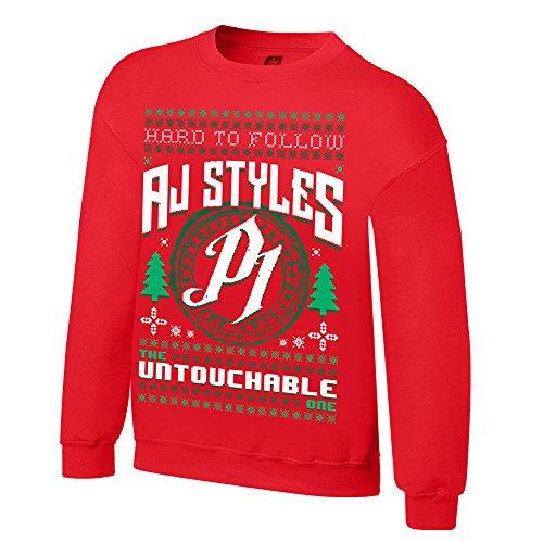 WWE AJ Styles Untouchable Ugly Holiday Sweatshirt Red - Ugly Style