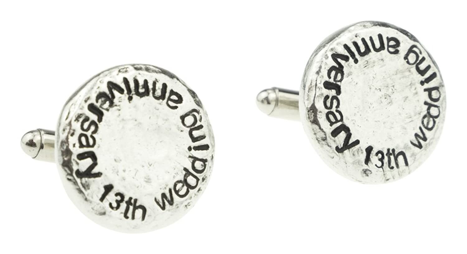 13th Wedding Anniversary Hammered Cuff-links for Husband, 13th Anniversary Gift Idea & Keepsake