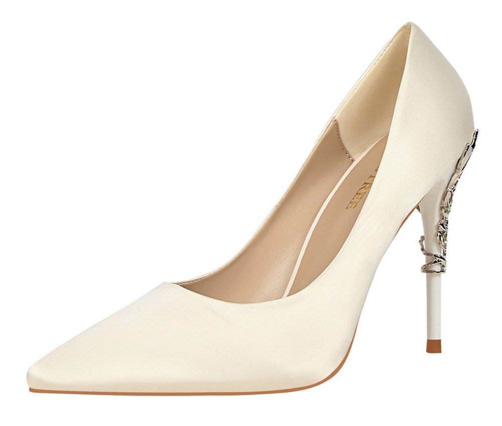 T&Mates Womens Elegant Versatile Satin Pointed Toe Plated High Heel Wedding Dressy Pumps Shoes (7.5 B(M) US,White)