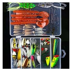 91 pcs a set fishing tackle lure kit bionic for Amazon fishing gear
