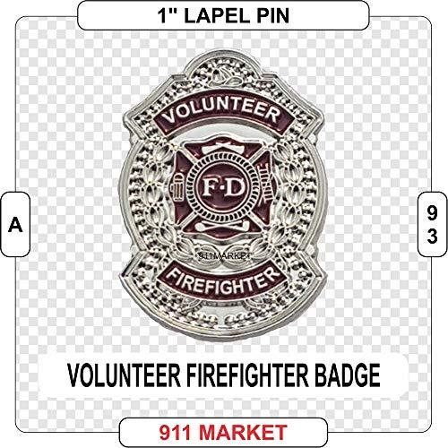Volunteer Firefighter Badge Lapel Pin Silver VFF Fireman Fire Department - A 93 -