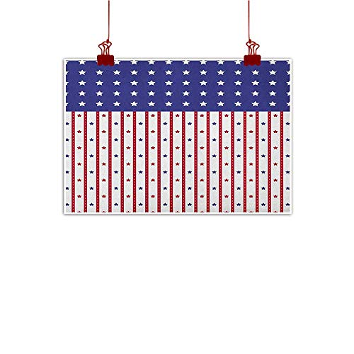 (Sunset glow Artwork Office Home Decoration USA,American Flag with Stars and Stripes Nationality Independence Day Theme, Violet Blue Ruby White 24