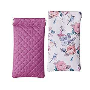Lucky Leaf Sunglasses Goggles Pouch Case Women Eyeglass Holder with Cleaning Cloth (Dark Purple Plaid+Flower Bird (White))