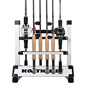 KastKing Rack 'em Up Portable Aluminum Fishing Rod Holder - 12 Rods Rack SilverBlack