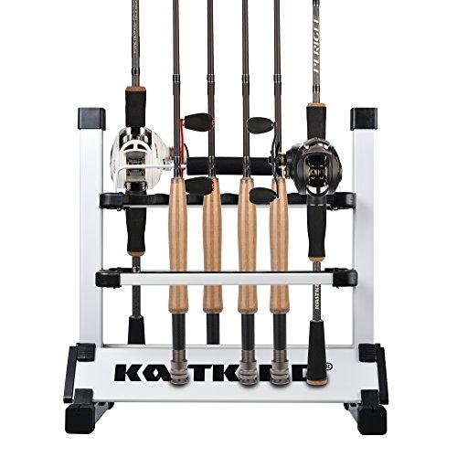 KastKing Rack 'em Up Portable Aluminum Fishing Rod Holder - 12 Rods Rack SilverBlack