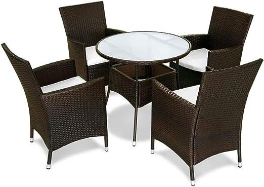 Tuduo Juego de Mesa y sillas de jardín de 9 Piezas en polirratán Marrón diseño Sencillo y Elegante, Robusto y Estable Juego de Muebles de jardín Set Muebles Exterior Muebles para Exteriores: