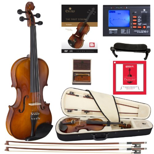 Cecilio CVN-320L Solidwood Ebony Fitted Left-Handed Violin with D'Addario Prelude Strings