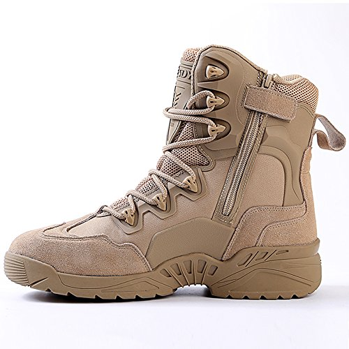 with Combat 7 Leather Men Desert ESDY inch Khaki Military Tactical Zipper Boots Boots 5 xPa8Uw