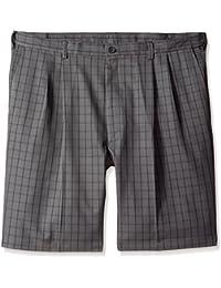 Men's Big-Tall Cool 18 Graphic Windowpane Pleat Front Short