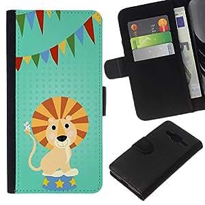 NEECELL GIFT forCITY // Billetera de cuero Caso Cubierta de protección Carcasa / Leather Wallet Case for Samsung Galaxy Core Prime // DIVERTIDO DEL LEÓN DE LA HISTORIETA PARTY
