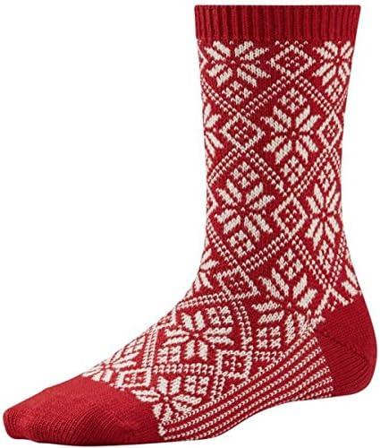 SmartWool Calcetines Tradicional de Copo de Nieve para Mujer - Rojo
