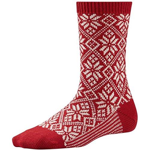 TALLA M. SmartWool Calcetines Tradicional de Copo de Nieve para Mujer - Rojo