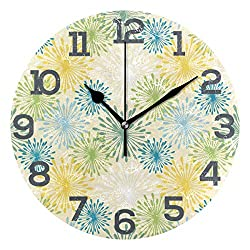 CENHOME Custom Wall Clock Yellow Blue Green Dandelions Pattern Home Decor Round Acrylic Clock Large Numbers Silent Non-Ticking Battery Operated Decorative Room Painting Cloc