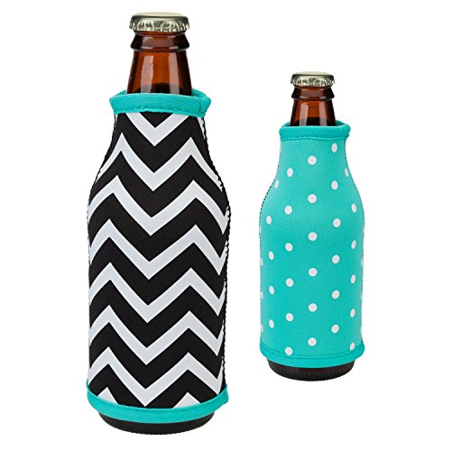 Reversible Neoprene Slip-on Design Bottle Koozie (Chevron/Aqua Dot)