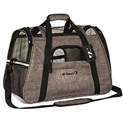 Airline Approved Soft Sided Pet Carrier by Mr. Peanut's, Two-Tone Luxury Travel Tote with Fleece Bedding, New Design, Under Seat Compatibility, Perfect for Cats and Small Dogs (Charcoal Ash)