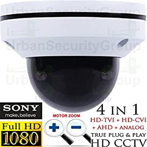 USG Sony DSP PTZ Speed Dome Security Camera : 1080P 2MP 2.8-8mm Motorized + Auto-Focus Lens : 65ft Night Vision, IR-Cut, WDR, Motion Detection, DNR, Precision Drive Motor : TVI, CVI, AHD, Analog from Urban Security Group
