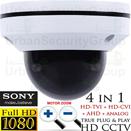 USG Sony DSP PTZ Speed Dome Security Camera : 1080P 2MP 2.8-8mm Motorized + Auto-Focus Lens : 65ft Night Vision, IR-Cut, WDR, Motion Detection, DNR, Precision Drive Motor : TVI, CVI, AHD, Analog