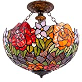 Tiffany Ceiling Fixture Lamp Semi Flush Mount 16 Inch Crystal Bead Red Rose Stained Glass Shade Pendant Hanging 2 Light Fixture for Dinner Room Living Room Bedroom S001 WERFACTORY