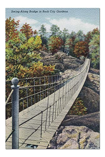 Bridge Along Swing - Lookout Mountain, Tennessee - View of Rock City Gardens Swing-Along Bridge (20x30 Premium 1000 Piece Jigsaw Puzzle, Made in USA!)