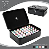 Essential Oils Carrying Case Holds 40, 15ml Bottles - Beautiful Large Custom Hard Shell Exterior with High Density Foam Interior (Jet Black)