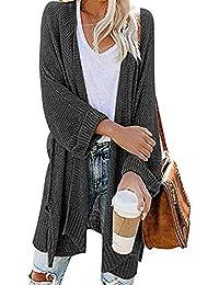 Women's Casual Solid 3/4 Sleeve Split Knitted Loose Open Front Cardigan Sweaters Outwear Coat