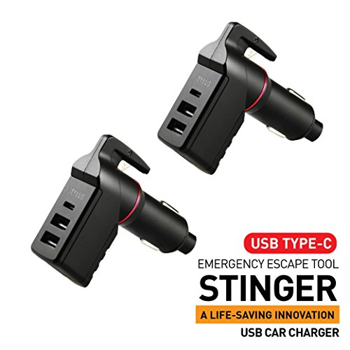 C USB Vehicle Emergency Escape Tool, Car Life-Saving, Spring Loaded Window Breaker Punch, Seatbelt Cutter, 3 USB Ports Max 3.0A Output, Cigarette Charger (2 pcs Black Combo) ()
