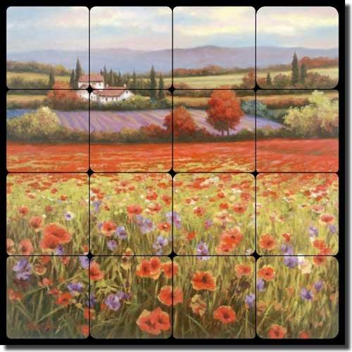 (Tuscan Poppy Tumbled Marble Tile Mural Backsplash 16