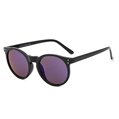 8d063d0d5e SUERTREE Fashion Round Sunglasses Women Men Ladies Vintage Small Sun Glasses  Retro Black Frame Blue Mirror JH9003  Amazon.co.uk  Clothing
